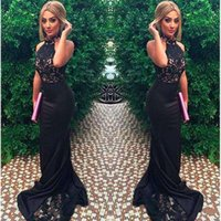 Wholesale Closed Neck Evening Gown - 2017 New Sexy High Neck Black Lace Applique Mermaid Close-Fitting Prom Dresses Sleeveless Formal Women Evening Gowns Satin Robe De Soiree