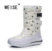 Wholesale Korean Boots Wedges - Wholesale- Winter New Korean Waterproof Boots-In-Tube Wedge Snow Boots Warm Thick Cotton Padded Shoes Women Rain Boots