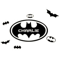 Wholesale Door Names - New Custom Made Bat Wall Stickers Personalized Name Wallpapers Wall Decals Room Door Home Decorations WS344