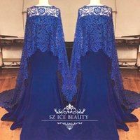 Wholesale Evening Wear Shawls Black - Royal Blue Mermaid Cloak Dresses Evening Wear Custom Made Long Lace Shawl Prom Dress 2017 Cheap African Party Formal Gowns