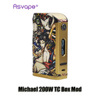 Wholesale Michael Set - 100% Original Asvape Michael 200W TC Box Mod Devils Night VW Dual 18650 Battery Mod Power By VO200 Chip Set