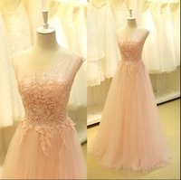 Fashion Light Pink Lange Prom Kleider 2016 Sheer Lace Appliques Cap Ärmel Drapierte Tüll Backless Formal Abendkleider