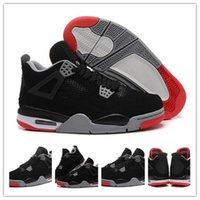 Wholesale New Basketball Shoe Releases - Drop shipping 2012 Release Men New Retro 4 IV Retro Bred Black-Cement Grey-Fire Red 308497-089 Sneaker Men's Sports Basketball Shoes XIII