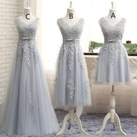 Wholesale wedding dresses pick up style - Grey Bridesmaid Dresses Sleeves V NeckTulle Long Dress Custom Made Three Style A Line Wedding Dresses Bridesmaids Gowns Cheap Dress