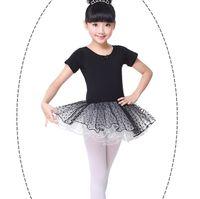 siyah tutu etekler toptan satış-Çocuk dancewear Elbise Kuğu Bale Noktalar Tutu etek Dans etek Okul performansı elbise Yaz Kısa kollu Logo baskı Ismarlama Siyah