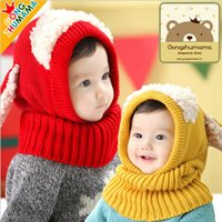 Wholesale Crochet Puppy Hats - Children's Crochet hats Caps Shawl connecting cap puppy hood neck warmer Collar Autumn Winter Warm hat Baby knitting caps for kids