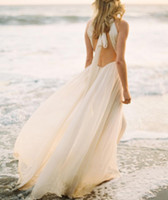 Wholesale Halter Drop Waist Wedding Dress - Sexy Ivory Beach Wedding Dress Dropped Waist Open Back Bridal Gowns Chiffon Pleated Halter Bride Dresses Summer Autumn Simple Greek Style