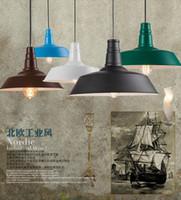 vintage art deco malerei großhandel-Loft amerikanischen Stil führte industrielle Pendelleuchten Vintage Restaurant Kronleuchter Eisen mehrfarbig lackiert E27 Edison Lampe Hause Lampe