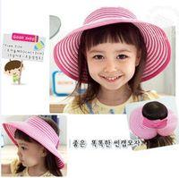 Wholesale Roll Up Visor Hat - Child Roll up Wide Brim Summer Hat Topless Floppy Visor Sun Shield Straw Hat Cap