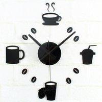 Wholesale Black Red Wall Clocks - 2016 Artistic Silent Retro European Style Leisure Time Dishes Acrylic Diy Wall Clocks Black Red