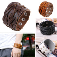 Wholesale Mens Wide Leather Cuff Bracelets - Biker Punk Rock Leather Bracelets Wide Braided Adjustable with Snap Button Gothic Mens Leather Wristband Cuff Bangle Bracelet