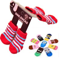 Wholesale Socks Designs Shoes - Foot Wear for Pets Dog Soft Warm Socks Cotton Anti-slip Design Socks Knitted Cotton Warm Walk Socks Pet Costume Products