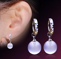 Wholesale Dangles Charms Clips - 925 Sterling Silver Drop Earrings Shambala Ball Stud Earrings Platinum Plated Round White Opal Dangle Charm Jewelry Elegant Wedding Party