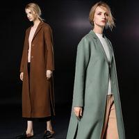 Wholesale Coat Womens Woolen - 2018 long caramel mint womens winter wool coats lapel neck fashion high quality cashmere coats ladies Outerwear woolen coats