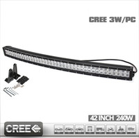 """Wholesale Cree Led Light Bar Combo - 42"""" Curved 240W Cree LED Light bars Work Driving light combo Beam IP67 Flood 60 degree Spot 30 degree for trucks off-road vehicles"""