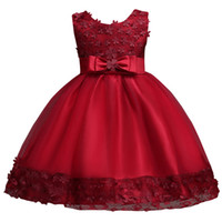 Wholesale Lovely Girls Dresses - 2017 Lovely Pink Purple Ball Gown Flower Girl Dresses with Bow Sash Cheap Kids Birthday Party Evening Dresses MC0890