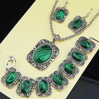 Wholesale Malachite Antique - Hot Sale New Arrival Antique Silver 3pcs Malachite Earrings Bracelet Necklace Women Vintage Jewelry Set