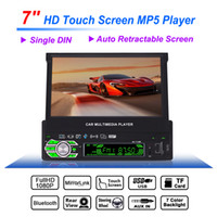 Wholesale Car Rear View Camera Dhl - DHL 7 Inch 1 Din Bluetooth HD Touch Auto Retractable Screen Car Video Stereo Player Support Mirror Aux In Rear View Camera CMO_21Z