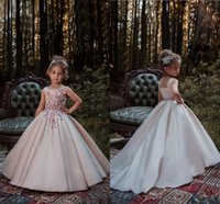 Wholesale Gold Square Beads - Blush Pink Princess Flower Girl Dresses 2018 Lace Applique Beads Sleeveless Long Sweep Train Satin Girls Pageant Gowns Formal Wear