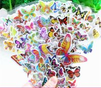 Wholesale Children Sheet Stickers - Wholesale- 6 sheets set The butterfly 3D stickers for kids Home wall decor on laptop cute Gifts for the children in the party supplies