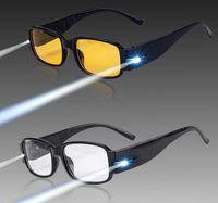 visão noturna levou luzes venda por atacado-Moda LEVOU Óculos de Leitura Night Reader Eye Light Up Óculos Espetáculo Diopter Lupa Presbiopia óculos de visão noturna Frete Grátis