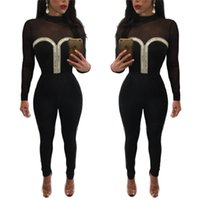 Wholesale Women Tights Winter Wear - Autumn Winter Women Long Sleeve Jumpsuit Fashion Net yarn perspective tight Sexy Deep V Neck Slim Bodycon Rompers Overalls Night Club Wears