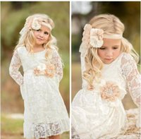 Wholesale Girls Formal Wear Dresses - Boho Lace Flower Girl Dresses For Summer Garden Weddings Knee Length Crew Neck Kids Formal Wears Girls Birthday Dresses with Bow Sash