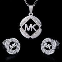 Wholesale Crystal Party Tops - Factory Direct Top Quality Never Fade 316L stainless steel Bridal Jewelry sets Crystal CZ Women Jewelry sets