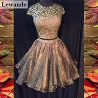 Open Back Two Piece Beaded Prom Heimkehr Kleid Kurz Braun Eine Linie Organza Rock 2pc Günstige Cap Sleeve Senior Graduation Kleid Lewande 50560