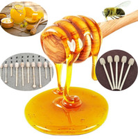 Wholesale Wood Stirring Sticks - High quality Wooden Honey stick Dippers honey stir Honey rod dipper kitchen tool Wooden Dippers IC629