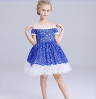 Wholesale childrens lace shirts resale online - 2016 Summer Childrens High Grade Embroidered Ball Gown Dress Girls American Style Short Sleeve Beaded Collar Princess Full Dress