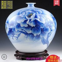 Wholesale Hand Painted Porcelain Vases - Jingdezhen ceramics Famous Wu Wenhan hand painted blue and white porcelain vases, pomegranate The collection certificate