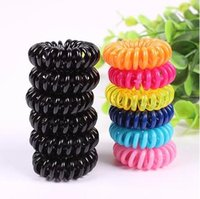 Wholesale Telephone Fashion Hair - Wholesale-5pcs lot Fashion Cute Candy Color Hair Jewelry Headbands Telephone Line Hair Rope For Women Hair Band