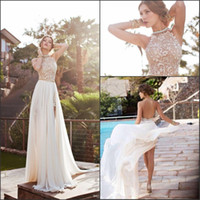 Wholesale chiffon halter wedding gown - 2017 Summer Beach Boho Sheath Wedding Dresses IN STOCK Cheap Halter Neck Backless High Side Split Bridal Gowns CPS231