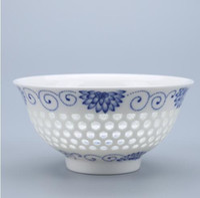 Wholesale Porcelain Soup Bowls - Paul Ceramic Pack of 2 Pcs Chinese Bowl Rice Soup Bowl On Glazed Retro Hollow Bowls With Spoon, T030D