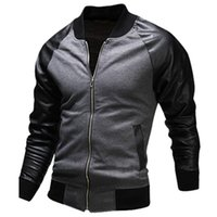 Wholesale Mens Leather Baseball Jackets - New Black Bomber Jacket Men 2016 Fashion Design Pu Leather Sleeve Mens Slim Baseball Jacket Casual Brand College Varsity Jakcet