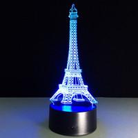 led eiffel kuleleri toptan satış-2016 Eyfel Kulesi 3D Optik Illusion Lamba Gece Lambası DC 5 V USB 5th Pil Toptan Dropshipping Ücretsiz Kargo Perakende kutu