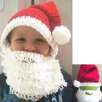 Wholesale Warm Santa Hat - New Christmas Warm Children Crochet Hats baby Full Santa Claus Beard Beanies Mustache Mask Face Knitted Winter Ski Beard Hats