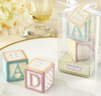 Wholesale new baby party online - Ceramic Baby Blocks Cruet quot New Baby On The Block quot Jar Letter Abcd Salt Pepper Shaker Wedding Favors Party Decoration