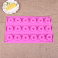 Wholesale Cake Tools 18 Sets - 1 pc New Donut Maker Silicone 18 Holes Donuts Cutter Mold Fondant Cake Bread Desserts Bakery Mould Tool Random Color
