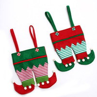 Wholesale christmas elf ornaments - Non Woven Fabric Christmas Elf Pants Stocking Candy Bag Kids X-mas Party Decoration Ornament Gift ZA5052