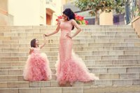 Wholesale Layered Lace Wedding Dress - Cheap Gorgeous Custom Made Cute Pink Flower Girls Dresses for Weddings Tulle Ruffles Layered Lace Girls Party Dresses Princess Pageant Gowns