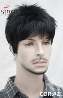 Wholesale Medium Hair Wigs For Men - Short Striaght Full Synthetic Wig for Male Hair Fleeciness Realistic wigs for men