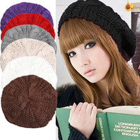 Wholesale Warm Stylish Winter Hats - Winter Fashion Women Knitted Berets Hat Stylish Female Warm Beanie Hats Ladies Solid Caps 10 Colors Available