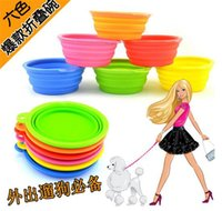 8 couleurs Portable Pet Dog Cat Pliable silicone Fil d'alimentation en eau Feeders pliables Food Travel Bols Dish Frisbee D626