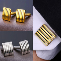 Wholesale Christmas Wedding Suits - U7 Fashion Men Strip Cufflinks 18K Real Gold Plated Platinum Plated Classic Men Suit Button Wedding Business Accessories Perfect Gift