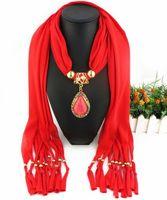 Wholesale elegant winter scarf woman - Latest Cheap Fashion Women Scarf Direct Factory Colored Rhinestones Drop Pendant Scarves Winter Elegant Ladies Scarf