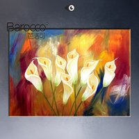Wholesale Modern Abstract Painting Flowers - Pure hand painted bright color flowers oil painting on cavas modern abstract oil painting home wall art decoration gift