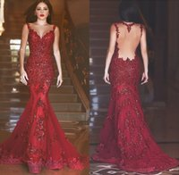 vestido de sirena árabe al por mayor-Robe De Soiree 2019 Borgoña Barato Sheer Back Vestidos de baile con lentejuelas árabes Novia de encaje Apliques Largo Vestido de noche formal Vestidos