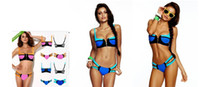 Wholesale Unique Push Up Bikinis - AAA New Arrived Unique Sexy Zipper Push Up Pad Bandage Bikini Set, Sexy Women Neon Swimwear Beachwear, Vintage Swimsuit Bathing Suit
